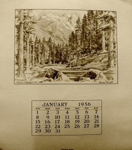 Old sepia colored wall calendar