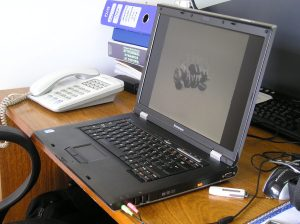 open laptop on desk