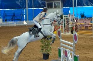 White horse & rider at a jump
