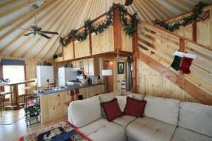Interior of 29ft yurt