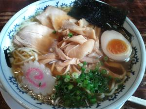 Noodles under chicken, hard boiled egg, green onion and radidh