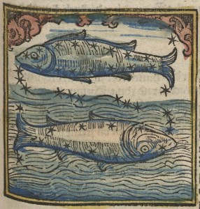 Woodcut of Pisces two fish