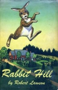 Rabbit Hill book cover of leaping rabbit