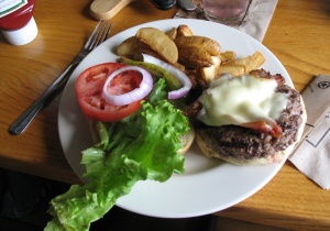 Open hamburger with lettuce, tomatom onion, mayonaise