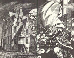 Munaini's illustrations for Ray Bradbury's stories old house and Uncle Einar