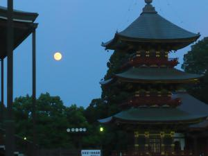 Full moon in sky next to tall pagoda