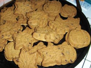 Plate piled with pumpkin cookies