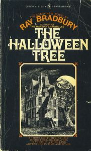 Black and White cover of 1974 paperback edition of The Halloween Tree by Ray Bradbury