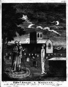 Engraving of John Dee invoking a ghost