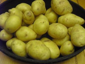 Bowl of raw yellow thin skinned potatoes.