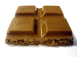 Four setions of a bar of chocolate