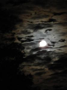Almost full moon backlighting clouds