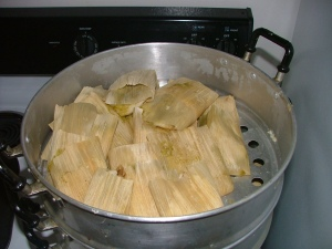 Mexican tamales in a tamalera cooker