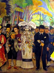Painting The Kid by Diego Rivera of Day of the Dead marchers and skeleton costumed marcher