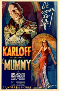 Classic film poster for the 1932 film The Mummy showing wrapped mummy and featuring Boris Karloff's name