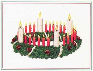 Pastor Wichern's original Advent wreath with four white and nineteen red candles