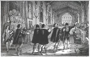 Black and white illustration of a boar's head procession