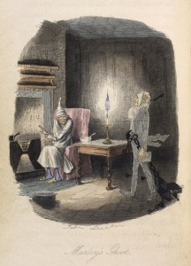 JohnLeech's illustration of Marley's ghost with Scrooge