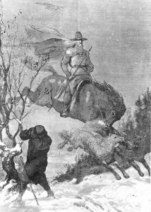 Old black and white illustration of Odin in the wild hunt