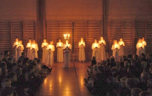 Danish girls in the Lucia candlelight procession at a Helsingør public school, 2001