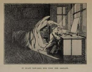 """McBryde's illustration of the ghost in """"Oh Whitle and I'll Come for You"""" By M.R. Jaes"""