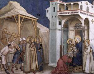 Adoration of the Magi painting by Giotto