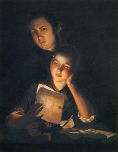 Painting by Joseph Wright of Derby - Girl Reading a Letter by Candlelight with a By Lokking Over her Shoulder