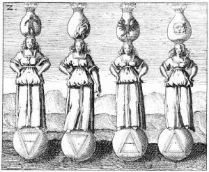 Alchemical emblempf the four stages asfemale figures