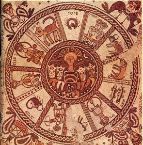 6th century mosaic floor showing the zodiac signs