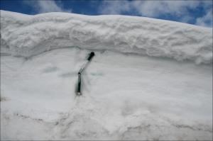 Piled snowbank closeup
