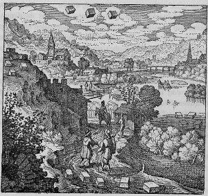Alchemical emblem for prima materia showing detailed landscape and floating cubes