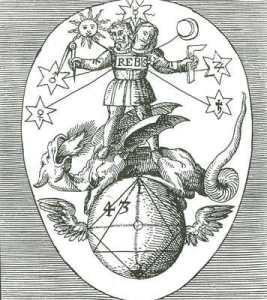 Black and white alchemical emblem of Rebis