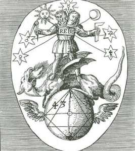 Black and white alchemical emblem of Rebis