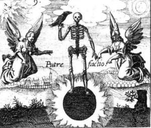 The skeleton standing on a black sun with a crow perching on it's wrist - The Black Sun Alchemical emplem