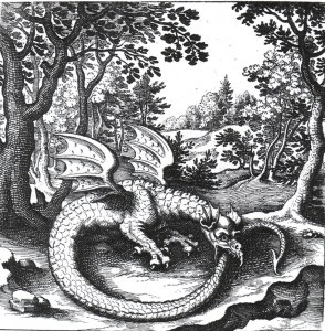 Alchemical emblem of dragon cnsuming it's tail
