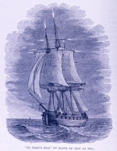 Print of St Elmo's fire on mast tops of sailing ship