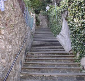 Old stone staircase view looing p