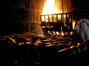 White flames in fireplace grate