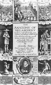 1638 Frontispiece of Burton's Anatomy of Melancholy