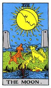 The Moon card from the Rider Waite tarot deck