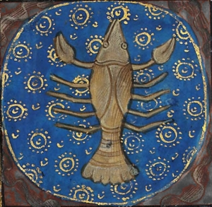 Illustration of grey lobster against blue disk as sign of Cancer in medieval book of hours