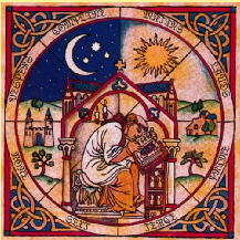 Medieval illustration of divnine office showing sun and moon and monk at desk