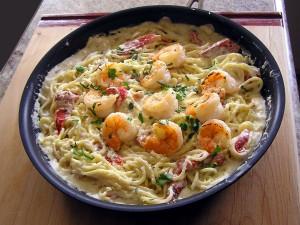 Bowl of noodles with shrimp