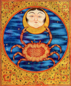Co;ored Cancer emblemshowing moon held by crab