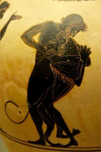 Image from a vase of Hercules (Herakles) strangling the Nemean lion