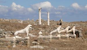 Terrace of the Lions at Delos Greece, birhplace of Apollo