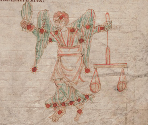 Circa 1000 CE illustration of Virgo on parchment