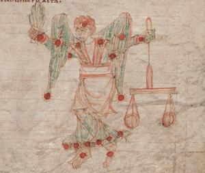 Circa 1000 CE illustration of Virgo on parchment
