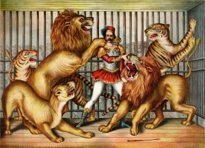 Vinatagle print of circus lion tamer surrounded by big cats