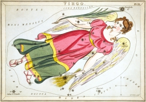1825 print of Virgo by Stanley Hall showing woman in a pink and green gown with stars annotated
